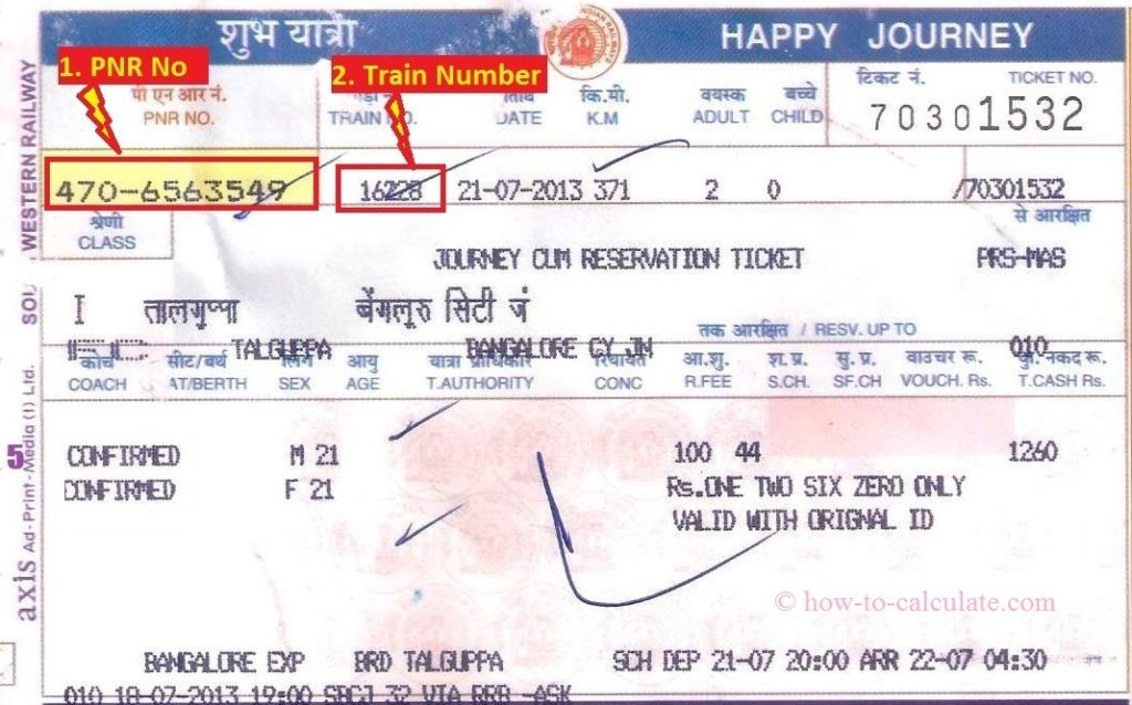 railway counter tickets